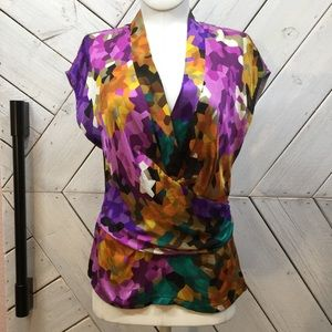 Trina Turk Multi Color Abstract Silk Blouse